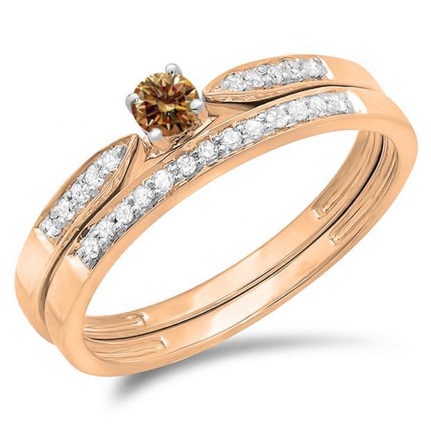 0.25 Carat (ctw) 14K Rose Gold Round Champagne & White Diamond Ladies Bridal Engagement Ring Matching Band Wedding Set 1/4 CT