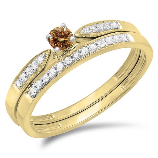 0.25 Carat (ctw) 14K Yellow Gold Round Champagne & White Diamond Ladies Bridal Engagement Ring Matching Band Wedding Set 1/4 CT