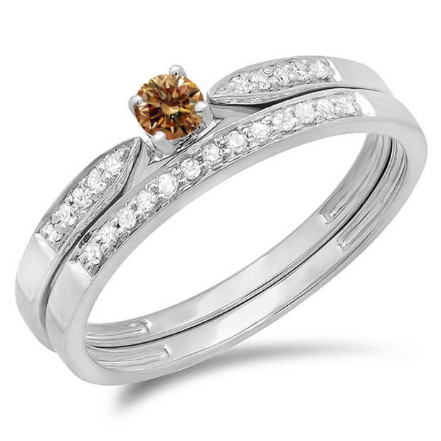 0.25 Carat (ctw) 18K White Gold Round Champagne & White Diamond Ladies Bridal Engagement Ring Matching Band Wedding Set 1/4 CT