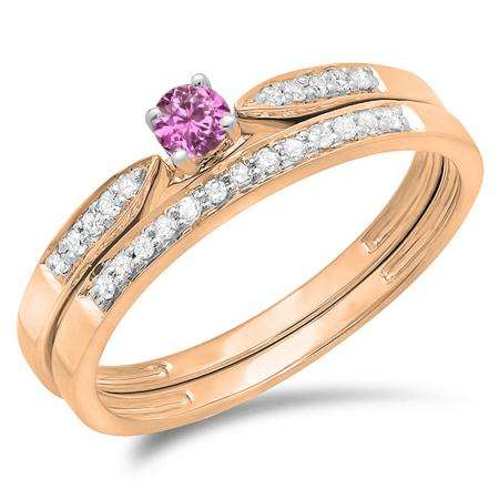 0.25 Carat (ctw) 10K Rose Gold Round Pink Sapphire & White Diamond Ladies Bridal Engagement Ring Matching Band Wedding Set 1/4 CT