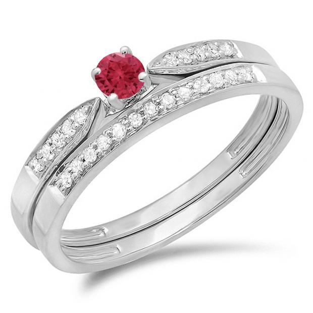 0.25 Carat (ctw) 10K White Gold Round Red Ruby & White Diamond Ladies Bridal Engagement Ring Matching Band Wedding Set 1/4 CT