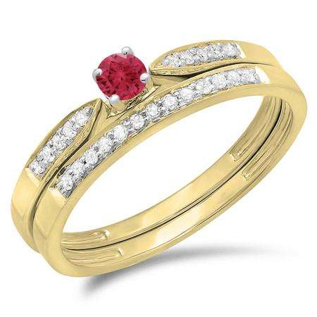 0.25 Carat (ctw) 14K Yellow Gold Round Red Ruby & White Diamond Ladies Bridal Engagement Ring Matching Band Wedding Set 1/4 CT