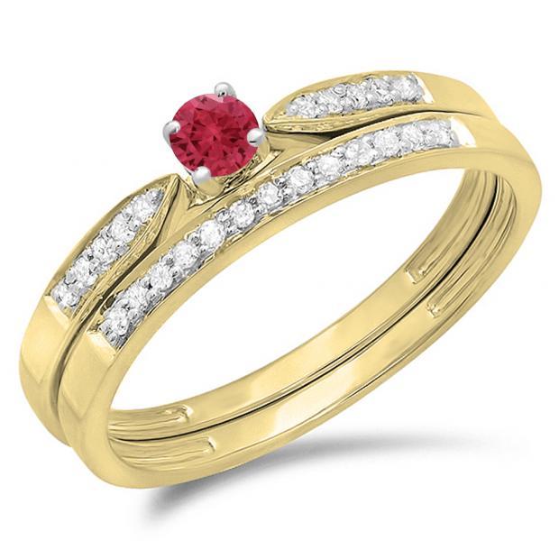 0.25 Carat (ctw) 18K Yellow Gold Round Red Ruby & White Diamond Ladies Bridal Engagement Ring Matching Band Wedding Set 1/4 CT