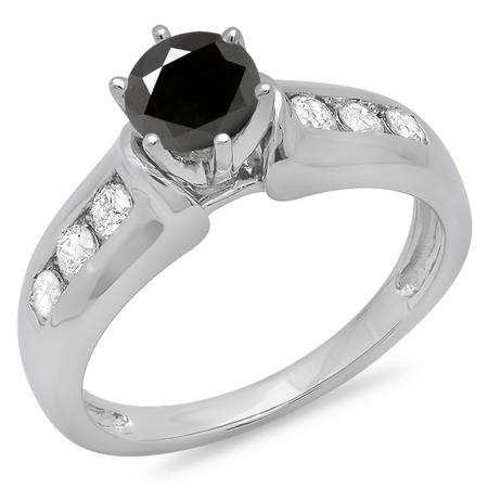 1.00 Carat (ctw) 18K White Gold Round Cut Black & White Diamond Ladies Bridal Solitaire With Accents Engagement Ring 1 CT