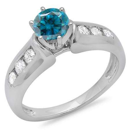 1.00 Carat (ctw) 10K White Gold Round Cut Blue & White Diamond Ladies Bridal Solitaire With Accents Engagement Ring 1 CT