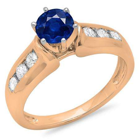 1.00 Carat (ctw) 10K Rose Gold Round Cut Blue Sapphire & White Diamond Ladies Bridal Solitaire With Accents Engagement Ring 1 CT