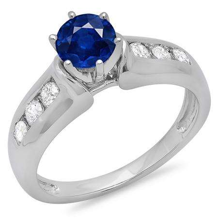 1.00 Carat (ctw) 10K White Gold Round Cut Blue Sapphire & White Diamond Ladies Bridal Solitaire With Accents Engagement Ring 1 CT