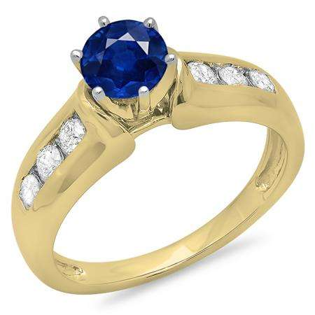 1.00 Carat (ctw) 10K Yellow Gold Round Cut Blue Sapphire & White Diamond Ladies Bridal Solitaire With Accents Engagement Ring 1 CT