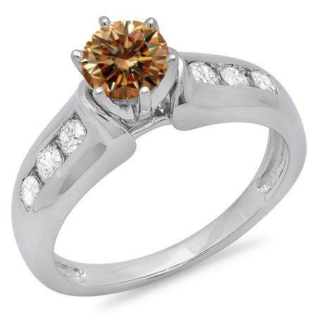 1.00 Carat (ctw) 10K White Gold Round Cut Champagne & White Diamond Ladies Bridal Solitaire With Accents Engagement Ring 1 CT