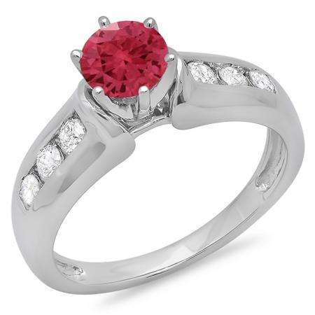 1.00 Carat (ctw) 10K White Gold Round Cut Red Ruby & White Diamond Ladies Bridal Solitaire With Accents Engagement Ring 1 CT