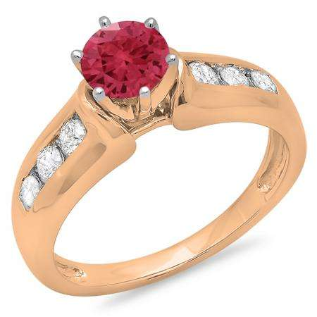 1.00 Carat (ctw) 18K Rose Gold Round Cut Red Ruby & White Diamond Ladies Bridal Solitaire With Accents Engagement Ring 1 CT