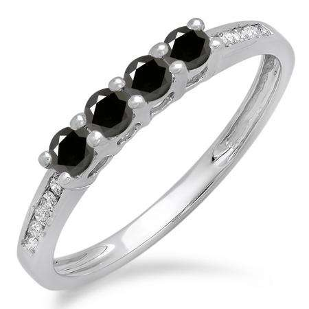 0.50 Carat (ctw) 10K White Gold Round Black & White Diamond Ladies Bridal Anniversary Wedding Band Stackable Ring 1/2 CT