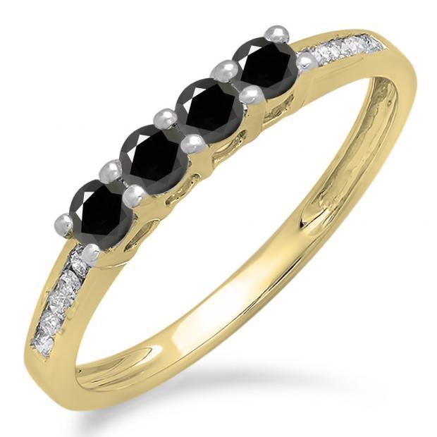 0.50 Carat (ctw) 10K Yellow Gold Round Black & White Diamond Ladies Bridal Anniversary Wedding Band Stackable Ring 1/2 CT