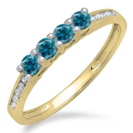 0.50 Carat (ctw) 10K Yellow Gold Round Blue & White Diamond Ladies Bridal Anniversary Wedding Band Stackable Ring 1/2 CT