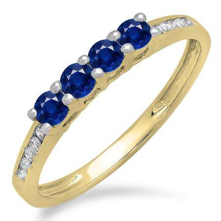 0.50 Carat (ctw) 10K Yellow Gold Round Blue Sapphire & White Diamond Ladies Bridal Anniversary Wedding Band Stackable Ring 1/2 CT