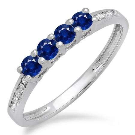 0.50 Carat (ctw) 18K White Gold Round Blue Sapphire & White Diamond Ladies Bridal Anniversary Wedding Band Stackable Ring 1/2 CT
