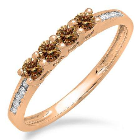 0.50 Carat (ctw) 10K Rose Gold Round Champagne & White Diamond Ladies Bridal Anniversary Wedding Band Stackable Ring 1/2 CT