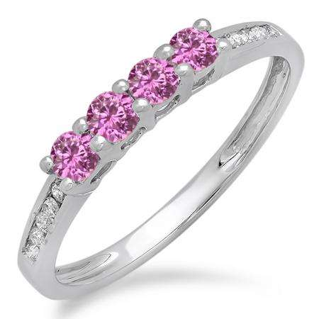 0.50 Carat (ctw) 10K White Gold Round Pink Sapphire & White Diamond Ladies Bridal Anniversary Wedding Band Stackable Ring 1/2 CT