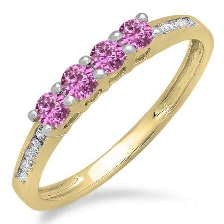 0.50 Carat (ctw) 10K Yellow Gold Round Pink Sapphire & White Diamond Ladies Bridal Anniversary Wedding Band Stackable Ring 1/2 CT