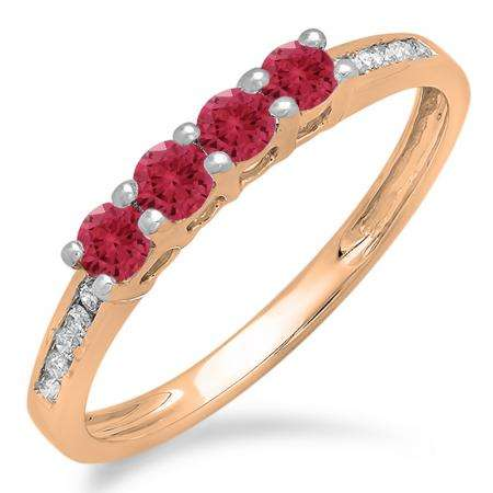 0.50 Carat (ctw) 18K Rose Gold Round Red Ruby & White Diamond Ladies Bridal Anniversary Wedding Band Stackable Ring 1/2 CT