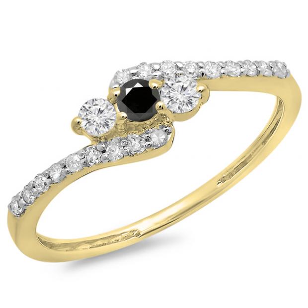 0.33 Carat (ctw) 10K Yellow Gold Round Black & White Diamond Ladies Swirl Engagement 3 Stone Bridal Ring 1/3 CT