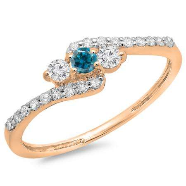 0.33 Carat (ctw) 10K Rose Gold Round Blue & White Diamond Ladies Swirl Engagement 3 Stone Bridal Ring 1/3 CT