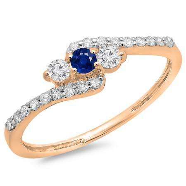 0.33 Carat (ctw) 10K Rose Gold Round Blue Sapphire & White Diamond Ladies Swirl Engagement 3 Stone Bridal Ring 1/3 CT