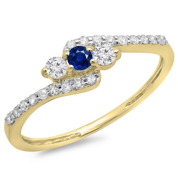0.33 Carat (ctw) 18K Yellow Gold Round Blue Sapphire & White Diamond Ladies Swirl Engagement 3 Stone Bridal Ring 1/3 CT