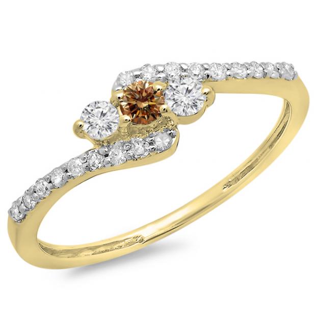 0.33 Carat (ctw) 10K Yellow Gold Round Champagne & White Diamond Ladies Swirl Engagement 3 Stone Bridal Ring 1/3 CT