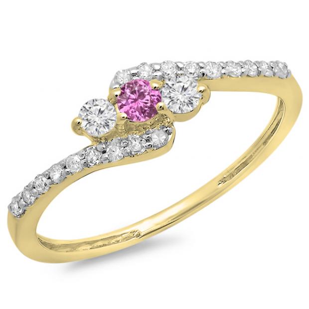 0.33 Carat (ctw) 10K Yellow Gold Round Pink Sapphire & White Diamond Ladies Swirl Engagement 3 Stone Bridal Ring 1/3 CT