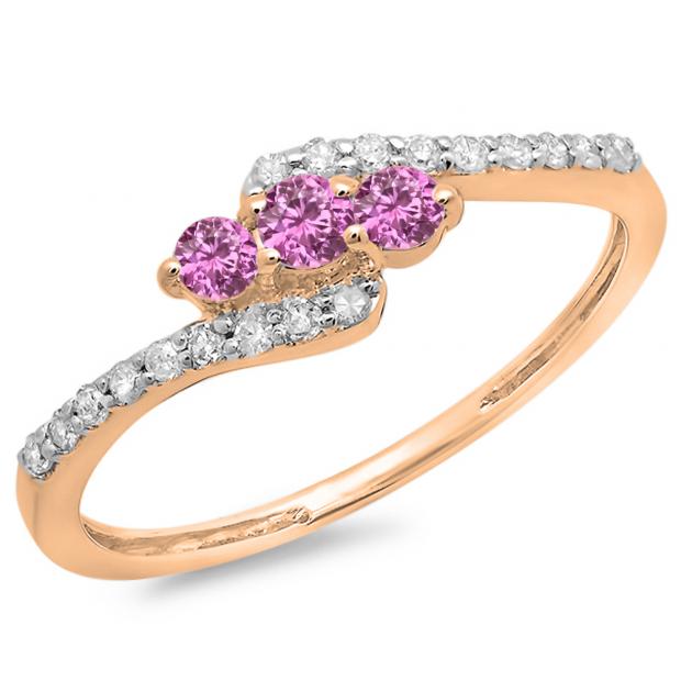 0.33 Carat (ctw) 10K Rose Gold Round Pink Sapphire & White Diamond Ladies Swirl Engagement 3 Stone Bridal Ring 1/3 CT