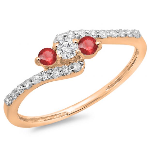 0.33 Carat (ctw) 18K Rose Gold Round Red Ruby & White Diamond Ladies Swirl Engagement 3 Stone Bridal Ring 1/3 CT