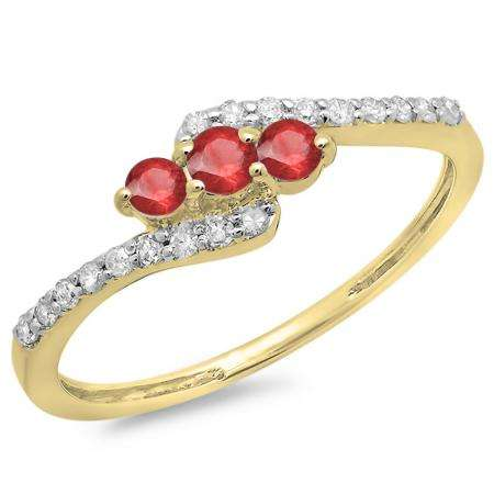0.33 Carat (ctw) 18K Yellow Gold Round Red Ruby & White Diamond Ladies Swirl Engagement 3 Stone Bridal Ring 1/3 CT