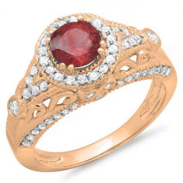 67272ca224 1.33 Carat (ctw) 10K Rose Gold Round Red Ruby & White Diamond Ladies Split  Shank Vintage Bridal Halo Style Engagement Ring 1 1/3 CT