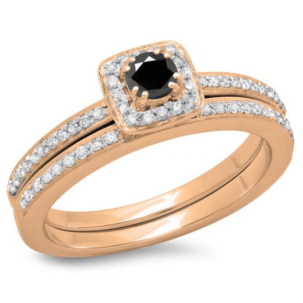 0.50 Carat (ctw) 14K Rose Gold Round Cut Black & White Diamond Ladies Bridal Halo Engagement Ring With Matching Band Set 1/2 CT