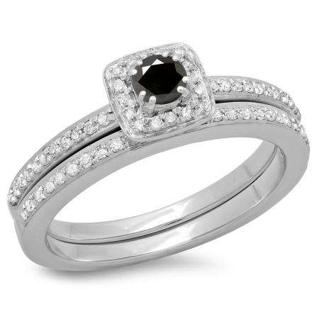 0.50 Carat (ctw) 18K White Gold Round Cut Black & White Diamond Ladies Bridal Halo Engagement Ring With Matching Band Set 1/2 CT
