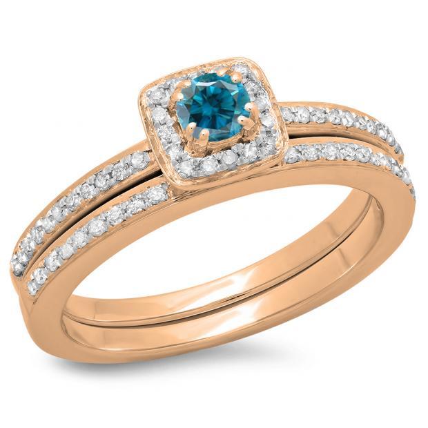 0.50 Carat (ctw) 14K Rose Gold Round Cut Blue & White Diamond Ladies Bridal Halo Engagement Ring With Matching Band Set 1/2 CT