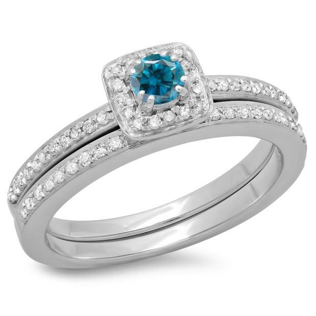 0.50 Carat (ctw) 14K White Gold Round Cut Blue & White Diamond Ladies Bridal Halo Engagement Ring With Matching Band Set 1/2 CT