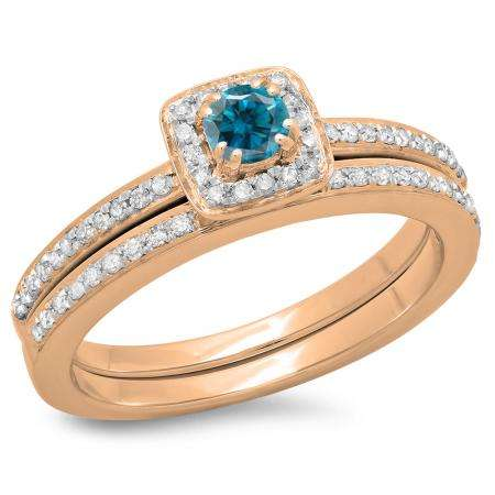 0.50 Carat (ctw) 18K Rose Gold Round Cut Blue & White Diamond Ladies Bridal Halo Engagement Ring With Matching Band Set 1/2 CT