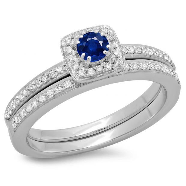 0.50 Carat (ctw) 10K White Gold Round Cut Blue Sapphire & White Diamond Ladies Bridal Halo Engagement Ring With Matching Band Set 1/2 CT