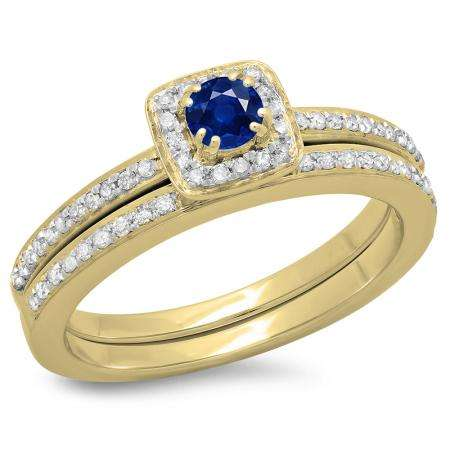 0.50 Carat (ctw) 14K Yellow Gold Round Cut Blue Sapphire & White Diamond Ladies Bridal Halo Engagement Ring With Matching Band Set 1/2 CT