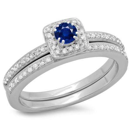 0.50 Carat (ctw) 18K White Gold Round Cut Blue Sapphire & White Diamond Ladies Bridal Halo Engagement Ring With Matching Band Set 1/2 CT