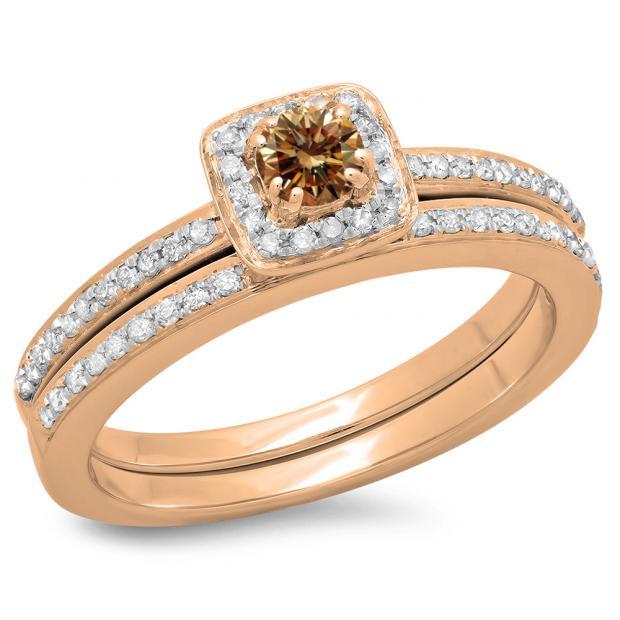 0.50 Carat (ctw) 14K Rose Gold Round Cut Champagne & White Diamond Ladies Bridal Halo Engagement Ring With Matching Band Set 1/2 CT