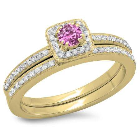 0.50 Carat (ctw) 14K Yellow Gold Round Cut Pink Sapphire & White Diamond Ladies Bridal Halo Engagement Ring With Matching Band Set 1/2 CT