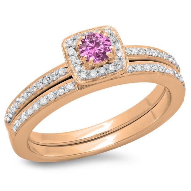 0.50 Carat (ctw) 18K Rose Gold Round Cut Pink Sapphire & White Diamond Ladies Bridal Halo Engagement Ring With Matching Band Set 1/2 CT
