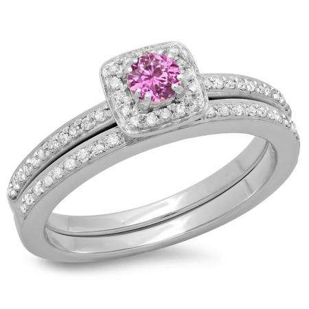 0.50 Carat (ctw) 18K White Gold Round Cut Pink Sapphire & White Diamond Ladies Bridal Halo Engagement Ring With Matching Band Set 1/2 CT