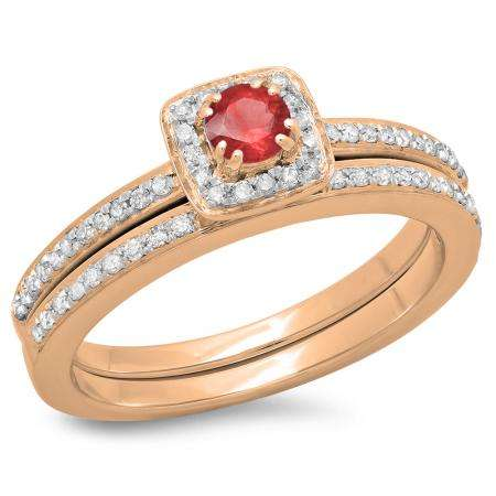 0.50 Carat (ctw) 18K Rose Gold Round Cut Red Ruby & White Diamond Ladies Bridal Halo Engagement Ring With Matching Band Set 1/2 CT