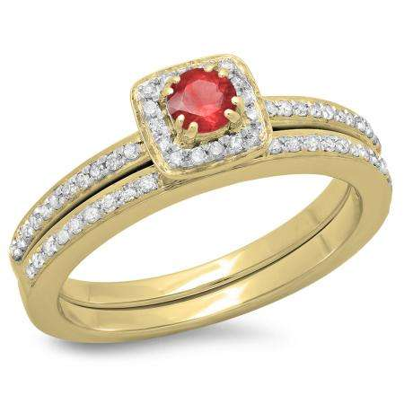 0.50 Carat (ctw) 18K Yellow Gold Round Cut Red Ruby & White Diamond Ladies Bridal Halo Engagement Ring With Matching Band Set 1/2 CT