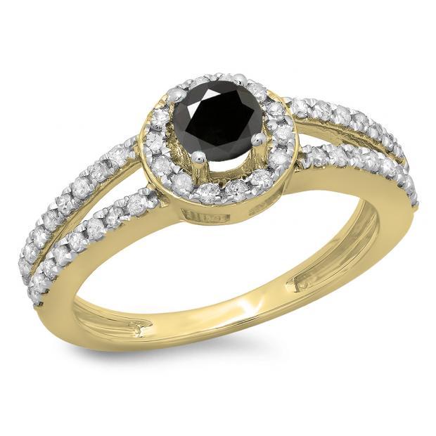 0.90 Carat (ctw) 10K Yellow Gold Round Cut Black & White Diamond Ladies Bridal Split Shank Halo Style Engagement Ring
