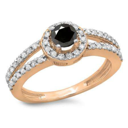 0.90 Carat (ctw) 14K Rose Gold Round Cut Black & White Diamond Ladies Bridal Split Shank Halo Style Engagement Ring